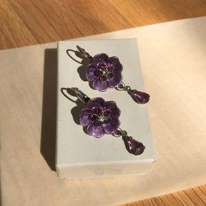 New Never Worn Purple Jewel Flower Earrings